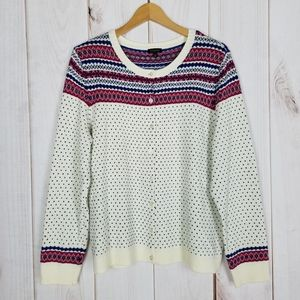 Talbots Nordic Style Pink Ivory Button Sweater XL
